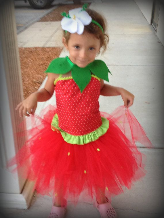 Sassy Strawberry Halloween Costume 4 pc set by WaterBabyBoutique