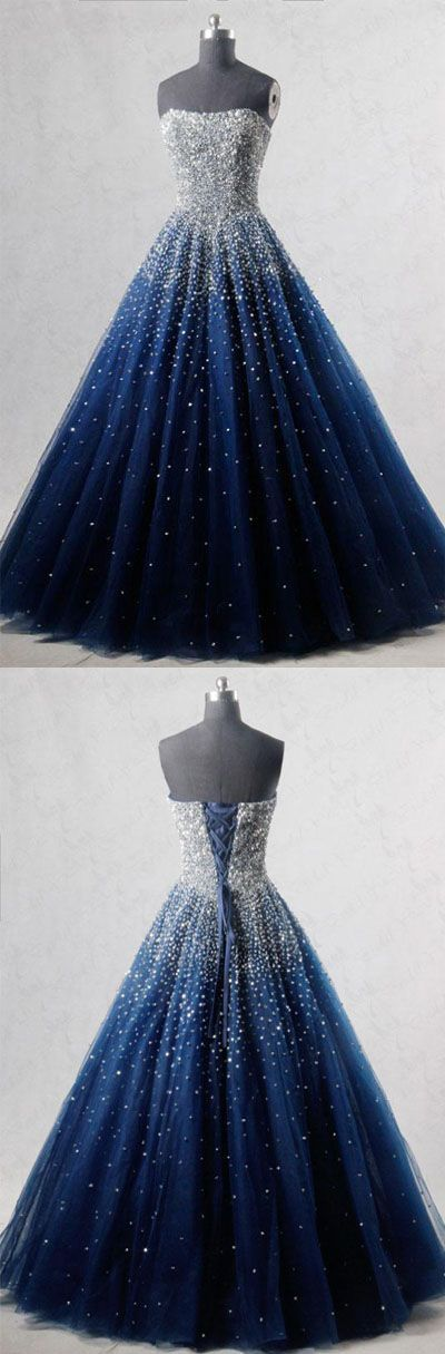 Sparkly A-Line Strapless Navy Blue Tulle Long Prom/Evening Dress with Beading C166