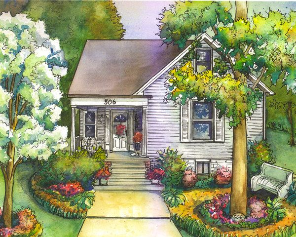 Watercolor House Sketch  8x 10 Architectural by maryfrancessmith, $155.00