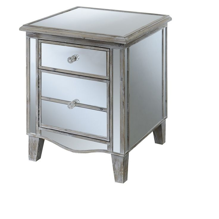Gold Coast Park Lane Mirrored End Table - Weathered