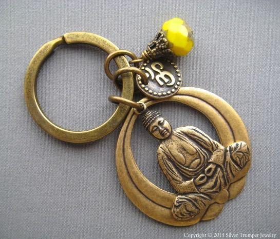 Buddha Keychain - Buddha Jewelry - Lotus Keychain - Om Jewelry - Inspirational Gift - Yoga Keychain - Buddha Keyring - Om Keychain