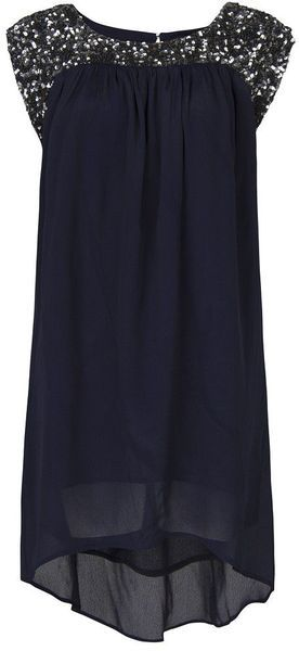 Navy drapey, breezy dress with sequin collar only $30
