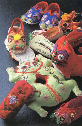Childrens' slippers, stuffed toys and pillows from China's Guanzhong region.