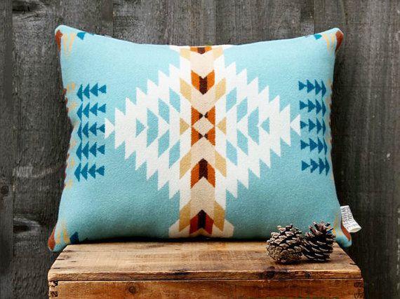 Geometric Wool Pillow // Echo Blue / cream / by ScoutandWhistle, $75.00