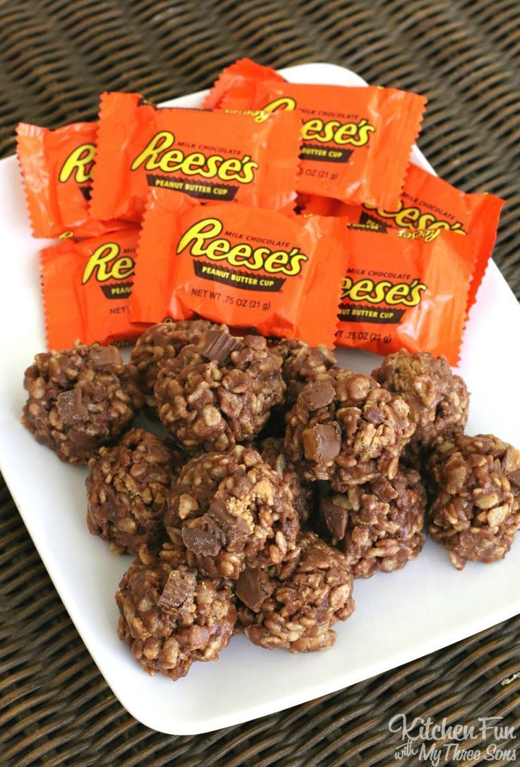 Reese's Cookies - No Bake Peanut Butter & Chocolate Rice