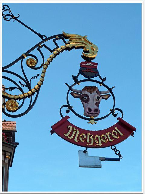 nice butcher's shop sign in Rottweil, Baden-Württemberg, Germany