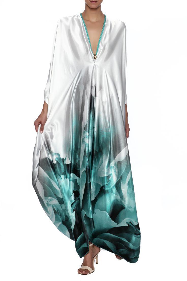 Handmade printed satin silk kaftan with long sleeves, v-neckline, empire waist, and back cut outs.   Aqua Kaftan by Le Beau Maroc . Clothing - Dresses - Maxi Clothing - Dresses - Printed Florida