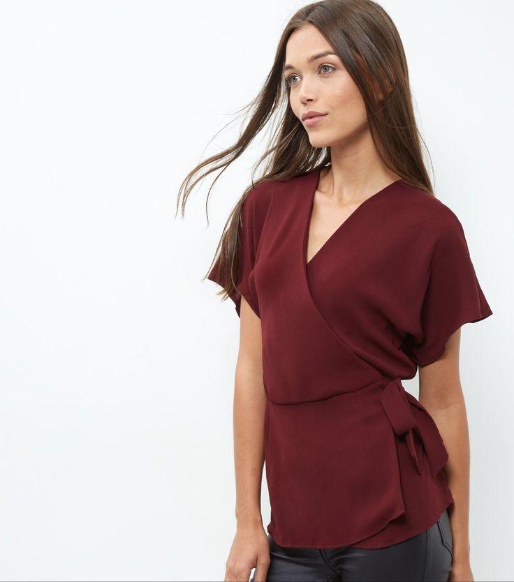 Burgundy Wrap Tie Side Top | New Look