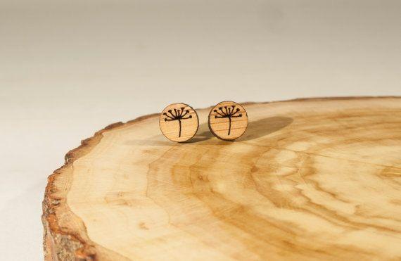 Allium Flower Tiny Stud Earrings Bamboo by BeamDesigns on Etsy