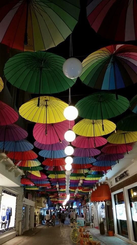 Those colorful umbrellas are still here at Paspatur in #Fethiye :-)