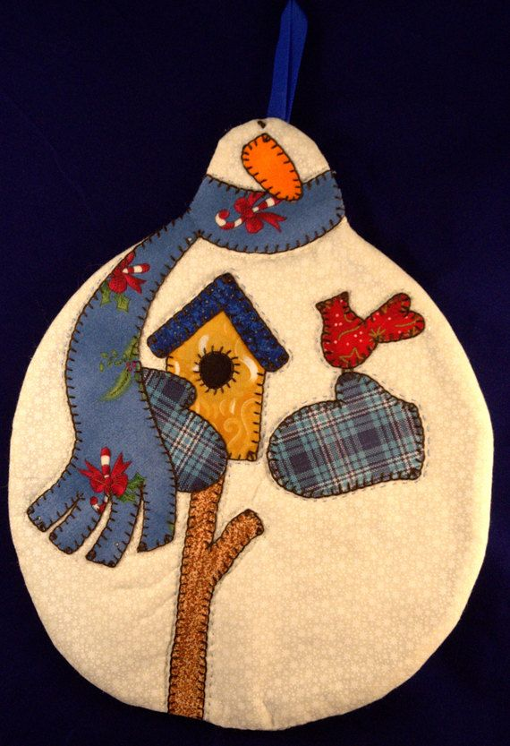 Snowman with Blue Scarf Mug Rug by QuiltinCats on Etsy, $ 10.50