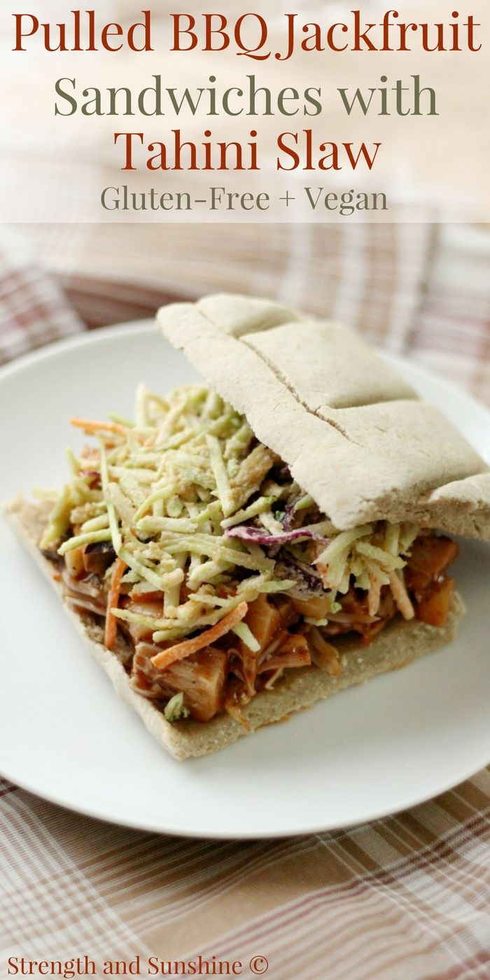 A healthy & delicious meatless recipe that will have you forgetting about the meat! Pulled BBQ Jackfruit Sandwiches with Tahini Slaw that are gluten-free, vegan, & top-8 allergy-free! Great for a quick & easy plant-based weeknight dinner!