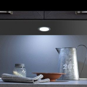 The Moonlight is a highly efficient, recessed spotlight featuring diffused illumination while redirecting the visible diodes to ensure uniform light distribution. The emotion technology allows you to choose variable color temperatures from WW to CW. #led #cabinetlighting #spotlight #pucklight