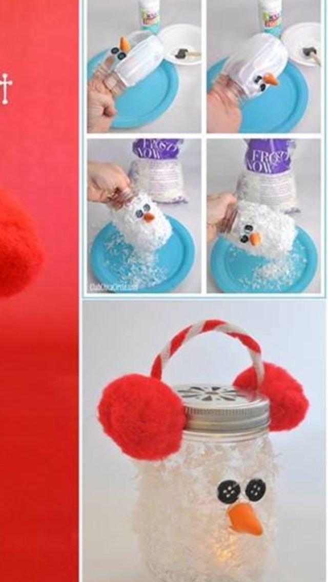 Fuzzy snowman mason jar