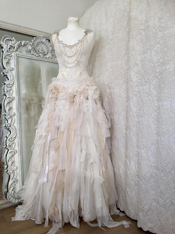 SOLD Wedding dress with roses bridal gown laceboho | Fantasy style ...
