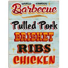 Barbecue Food Menu Metal Sign BBQ Restaurant Kitchen Decor 12 x 16