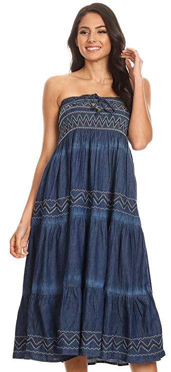 526494e1f0 Sakkas Eliza Womens Denim Tube Top Dress Boho Strapless Sleeveless Chambray  Maxi. Gypsy Casual  This beautiful denim tube top strapless dress features  ...