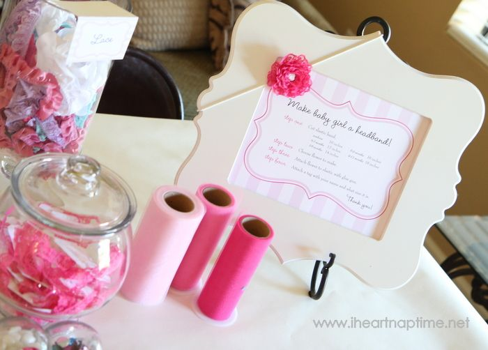 Have your guests make hair bows for baby at the baby shower.