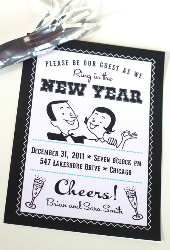 Printable NEW YEARS EVE Party Set Invitations, Banner and Flags for cupcakes, straws or drinks