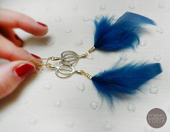 Orecchini Piume Blu Foglia Tiglio Pendenti Dorati Ottone Orecchini Fatti a Mano Artigianato Digitale Orecchini Particolari Pendenti Cuore