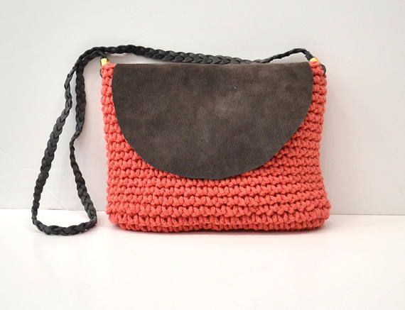 Salmon Crochet crossbody bag Shoulder bag Flap bag