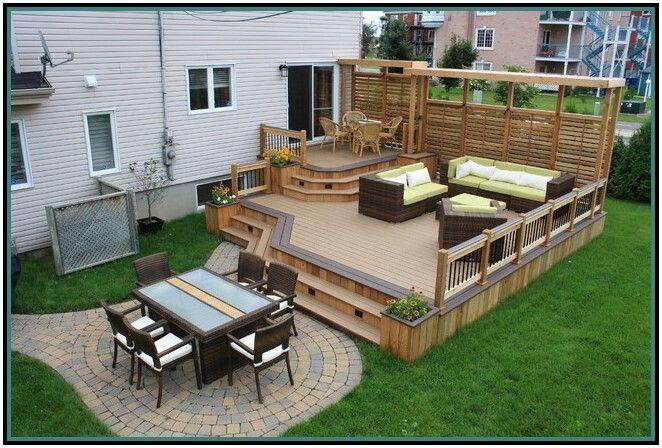 Multi level deck outdoors pinterest for Plan patio piscine