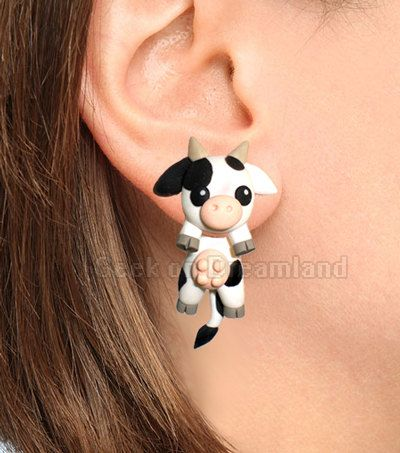 Black and Withe Cow Clinging Earrings by GeekonDreamland on Etsy
