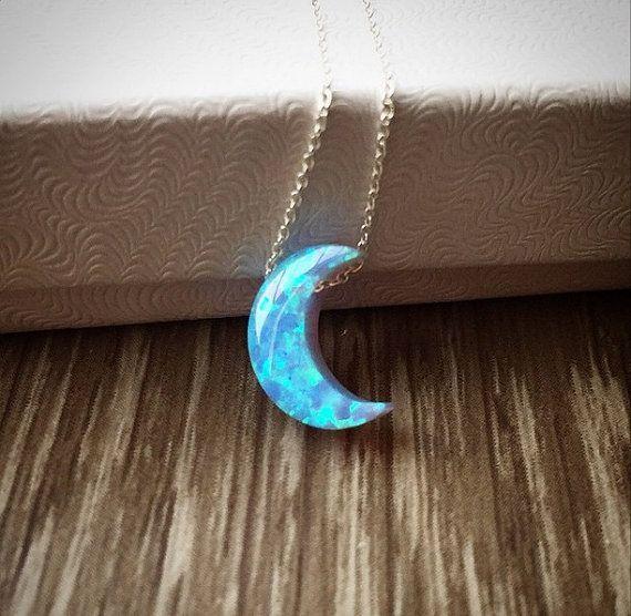 Opal Mond Halskette; Lab-Opal-Halbmond-Halskette