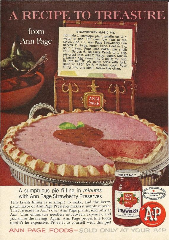 This 1966 recipe is... wait for it... easy as pie. Seriously, if you buy a frozen pie crust instead of making your own, you'll throw this together in a jiff. Decorate the top with a few sliced, fanned strawberries (like this) and you'll impress the heck out of everybody. Just...