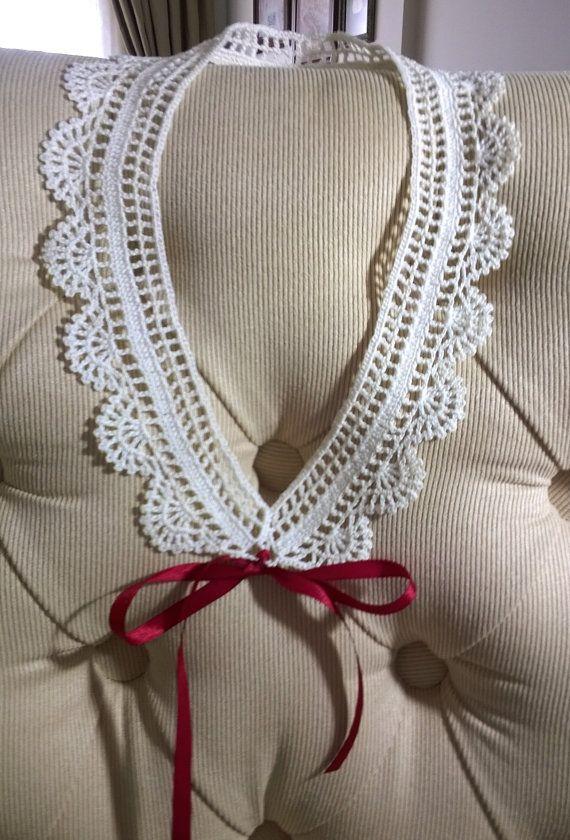 Cotton hand crochet white lace collar %100 cotton by neslyhandmade