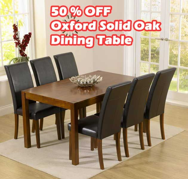 Buy The Oxford Dark Solid Oak Dining Set With Brown Albany Chairs At Furniture Superstore