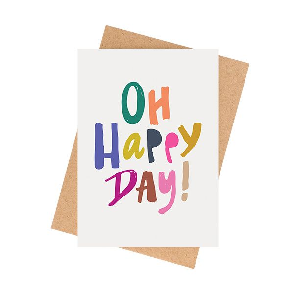 """""""Oh Happy Day!"""" cardPerfect for any celebration - Baby, Engagement, Wedding, Birthday, Graduation.A6 size (when folded) (5.8 x 4.1 inches) Blank InteriorPrinted on a matte 350 GSM white card packaged in a cello sleeve with a natural 100% recycled paper envelope. The card stock is produced with ECF pulp and is FSC Mix Certified.MA and GRANDY cards are designed and printed in Brisbane, Australia.Your order will be sent in a padded bag via Australia Post..."""