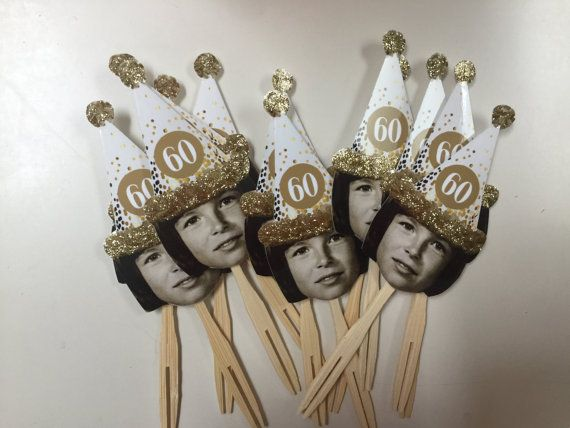 Photo cupcake toppers or drink stirrers with Over the hill