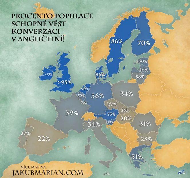 Procento populace EU hovořící anglicky podle země
