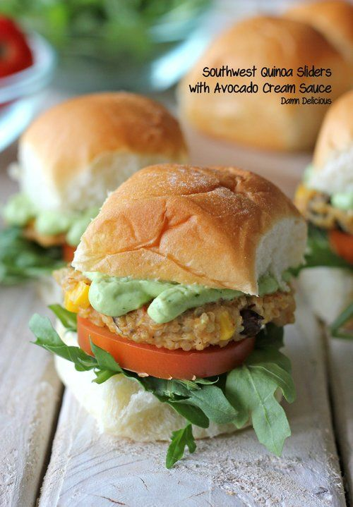Vegetarian southwest quinoa sliders for meatless Monday! Healthy, hearty and filling - plus the avocado cream sauce is to die for!