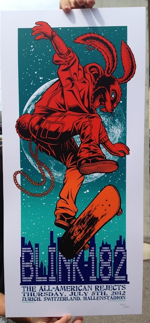 INSIDE THE ROCK POSTER FRAME BLOG: Exclusive World Premier Tonight's blink 182 poster from Zurich Switzerland by Justin Hampton