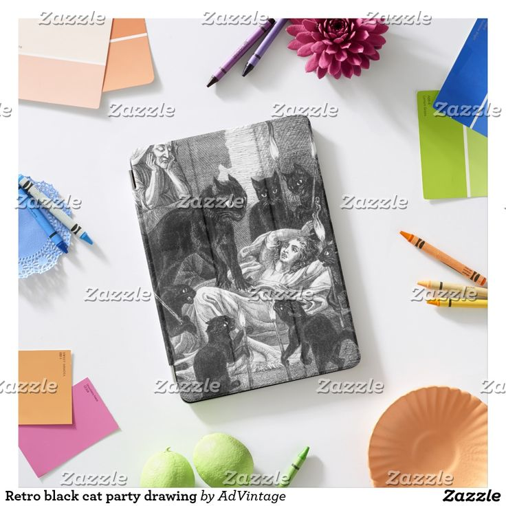 Retro black cat party drawing iPad air cover