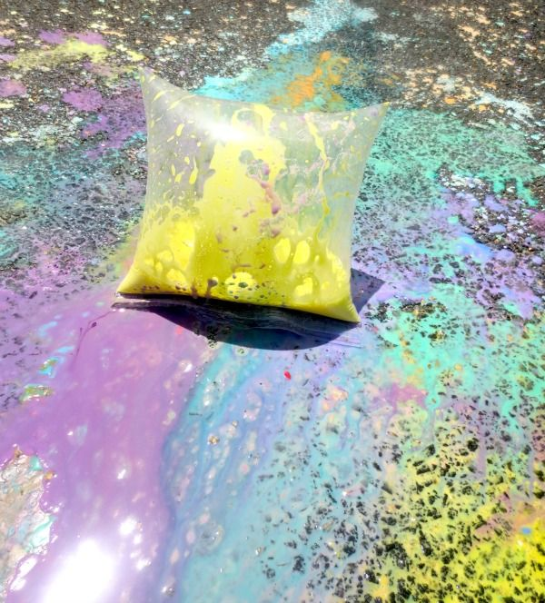 Think of this as the new science volcano. Using corn starch, vinegar, food coloring and baking soda for exploding sidwalk art