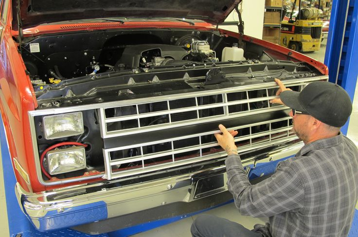 We needed to put a bow on the 1985 Chevrolet C10, and that involved a plethora of bright and shiny parts: new side trim, lenses, badging, and a new grille.