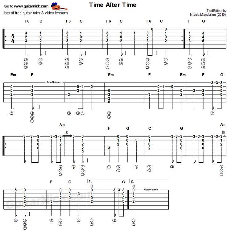 Time After Time, Cyndi Lauper - easy acoustic guitar tab : Guitar tabs : Pinterest : Happy ...