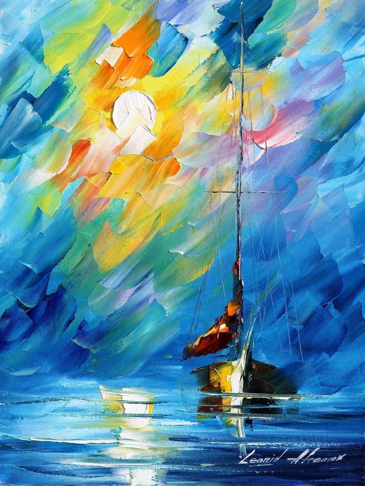 Lullbay ~ Leonid Afremov ~ oil on canvas (using only a palette knife)