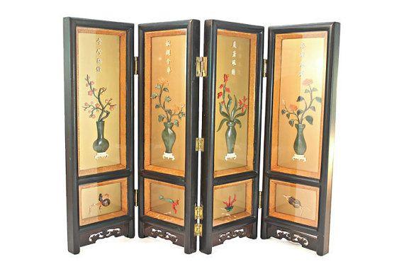 Oriental Lacquer Screen, Oriental Tabletop Coral Jade Lacquer Screen, Asian Tabletop 4-Panel Lacquer Screen, Oriental Carved Lacquer Screen