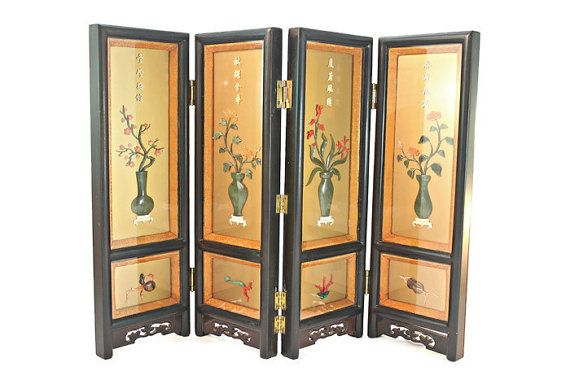 Oriental Lacquer Screen, Oriental Tabletop Coral Jade Lacquer Screen, Asian Tabletop 4-Panel Lacquer Screen, Oriental Carved Lacquer Screen