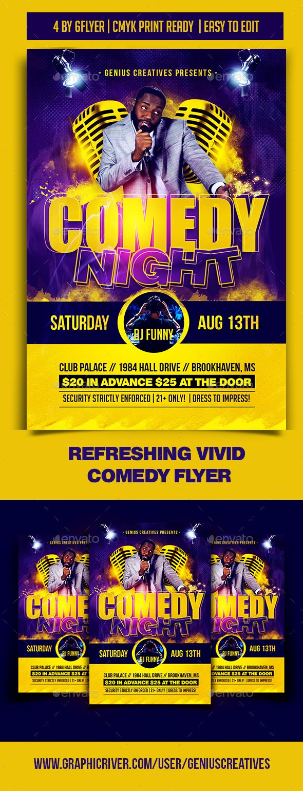 Comedy #Night #Flyer Template - Events Flyers Download here: https://graphicriver.net/item/comedy-night-flyer-template/19753243?ref=alena994
