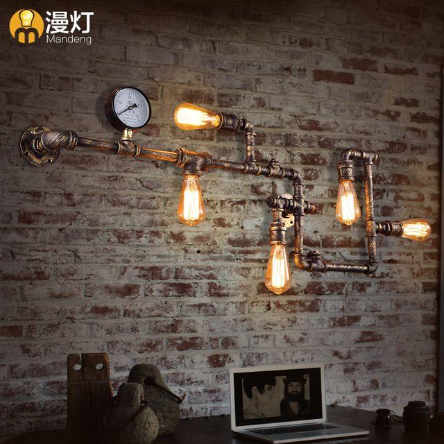Лофт ретро промышленного бра водопровод черный красный купер роспись стены бра ресторан бар железа настенные светильники