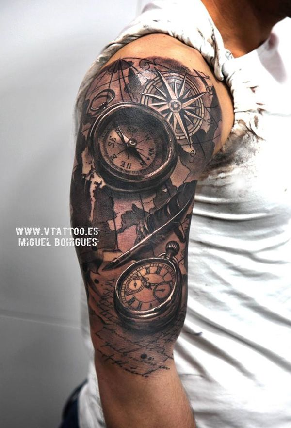 Realistic and wath tattoo on half sleeve  - 40 Awesome Compass Tattoo Designs