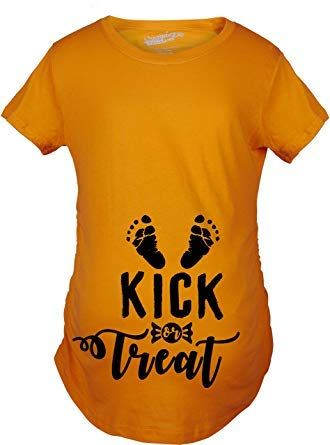 maternity kick treat t shirt funny halloween pregnancy announcement tee maternity clothes