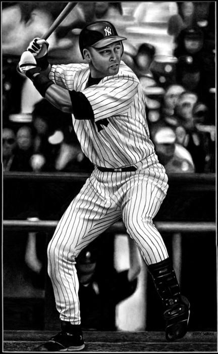 Jeter Drawing by Jerry Winick - Jeter Fine Art Prints and Posters for Sale