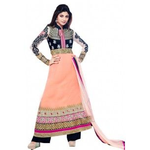 Shop Now - http://www.valehri.com/orange-black-anarkali-designer-shilpashetty-salwar-suit-1365  Price - 3,899 INR RS