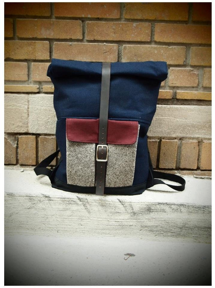 Blue Canvas Three-tone Rolltop Rucksack.